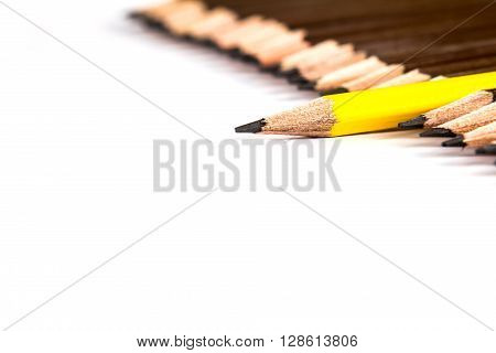 selective focus of the wooden pencil arrange with one different as a symbol of difference concept