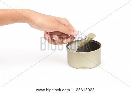 hand pull and open tin golden aluminum canned