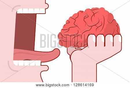 Man Eats Brain. Consumption Of Ideas. Brain In His Hand. Open Mouth With Teeth And Tongue. Consumpti