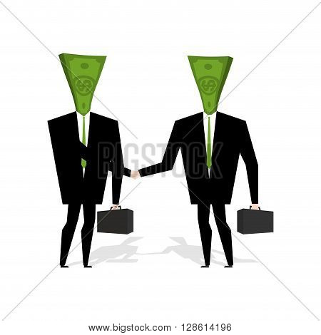 Money People Make Deal. Businessmen Shaking Hands. Handshake Cash. Contract Between Managers. Agreem