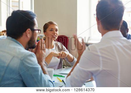 Talking to businessmen