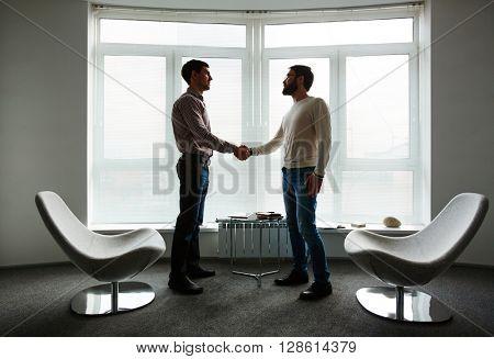 Leaders handshaking