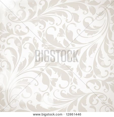 Wallpaper with floral ornament with leafs and flowers for vintage design, Vector retro background