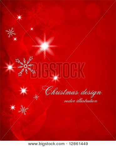 Red abstract Christmas background with white snowflakes