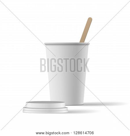 White Coffee Cup with Cap realistic Mockup. Vector Illustration