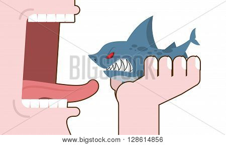 Man Eating Shark. Destruction Of Marine Predator. Consumption Underwater Animal. Decimation Of Fish