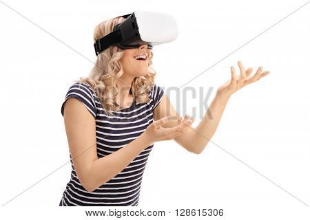 Young woman experiencing virtual reality and gesturing with hands isolated on white background