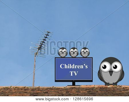Comical bird family settling down to watch children television programmes
