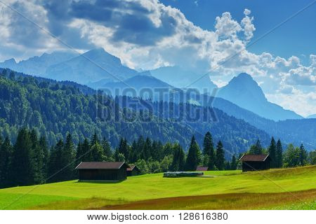 Alone house on alps mountain