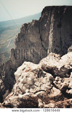cliffs on top of the mountain Ai-Petri Crimea filter