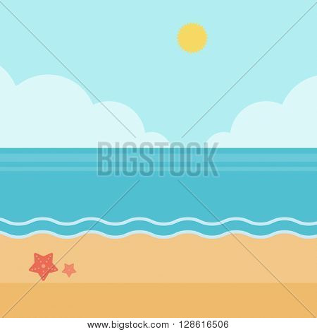 Background of sand beach with blue sea.