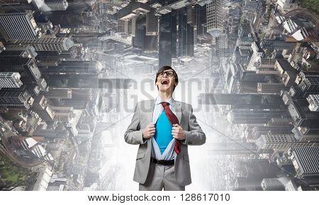 Screaming emotionally super businessman