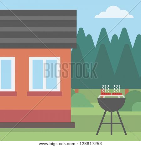 Background of the house with barbecue.