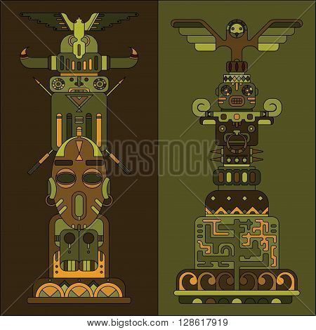 two ethnic colored totem poles, vector illustration, indian and aztec motif