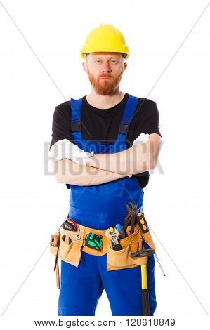 Young Man Builder With Belt Of Construction Tools