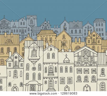 Vintage cartoon down town hand drawn, vector illustration