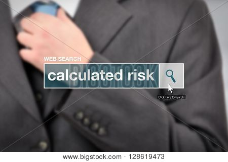Web search bar glossary term - calculated risk definition in internet glossary.