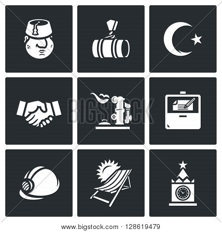 Vector Set of Turkey and Russia Icons. Turk, Gas pipeline, Coat of arms, Agreement, Gas-holder, Hub, Contract, Construction, Tourism, Moscow.