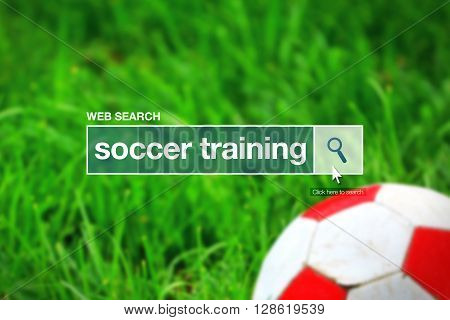 Web search bar glossary term - soccer training definition in internet glossary.