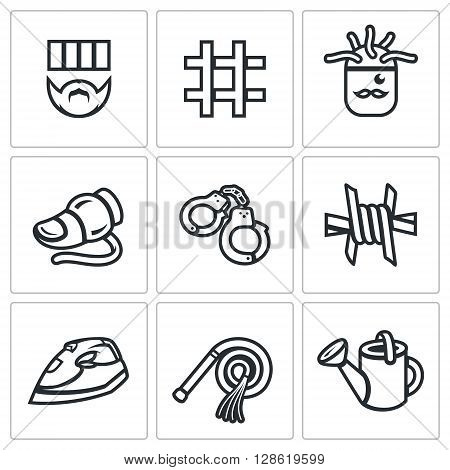 Vector Set of Interrogation Icons. Criminal, Prison, Electric chair, Lie detector, Arrest, Insulation, Appliance, Punishment, Shower.