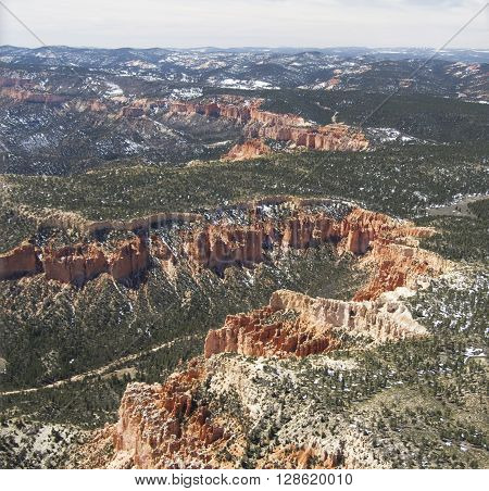 Bryce Canyon National Park - aerial view spring 2016 Utah USA