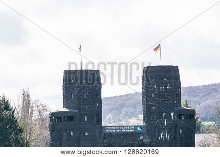 ERPEL GERMANY - MARCH 27 2016: Ruin the Ludendorff Bridge at Erpel am Rhein in Germany.Towers of the Remagen bridge are located on the opposite bank of the city Erpel am Rhein in Germany.
