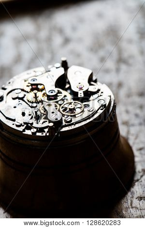 Fascinating Antique Watch Mechanism On Repair Table
