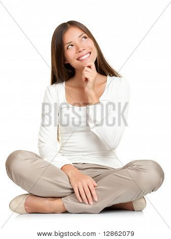 Thinking Woman Sitting Of Floor Isolated