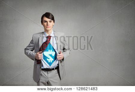 Determined super businessman