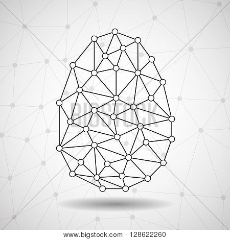 Abstract Easter egg polygonal shape, network connections, vector illustration