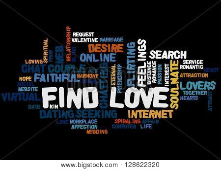 Find Love, Word Cloud Concept 3