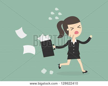 Business woman Running Late. Business Concept Cartoon Illustration.