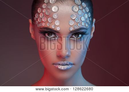 Gorgeous Woman With Fashion Rhinestone Make Up