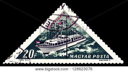 STAVROPOL RUSSIA - APRIL 28 2016: a stamp printed by Hungary shows Motorboat river Danube lake Balaton circa 1963