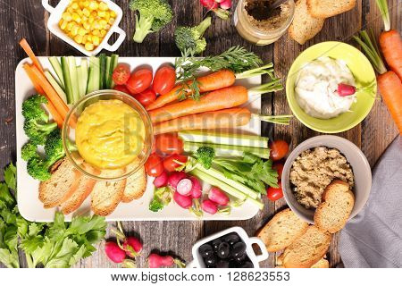 healthy appetizer with vegetable and dip
