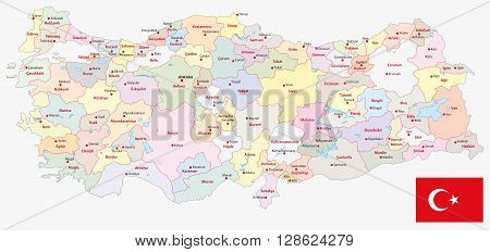 administrative divisions vector map of the Turkish republic with flag