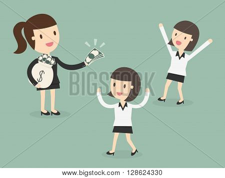 employer paying money for employee motivation concept