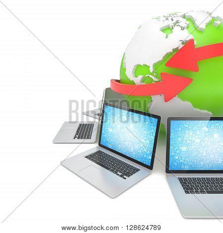 Laptop network around earth globe. 3d rendering.