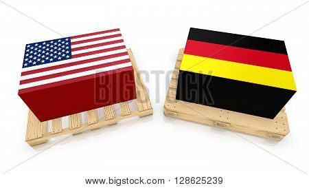 Two palettes one american style with an american box and a eu standard wooden palette with german box 3D illustration