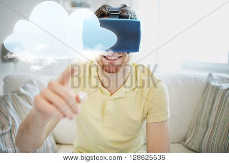 technology, cloud computing, gaming, entertainment and people concept - happy young man in virtual reality headset or 3d glasses with cloud projection at home