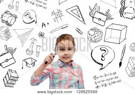 childhood, school, education, learning and people concept- happy little girl looking through magnifying glass with doodles