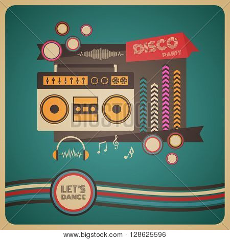 boombox disco party retro and vintage poster