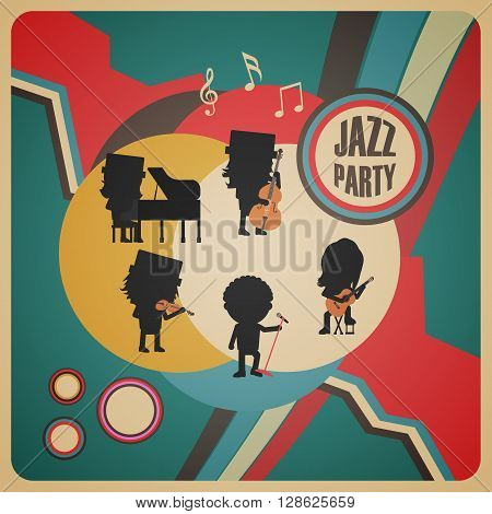 jazz band poster retro and  vintage style