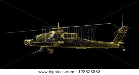X-ray wire frame 3D render of game helicopter