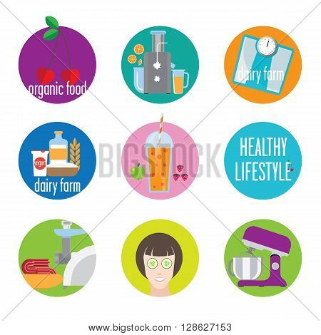 Icons with different images. Libra a juicer a woman's face and more.