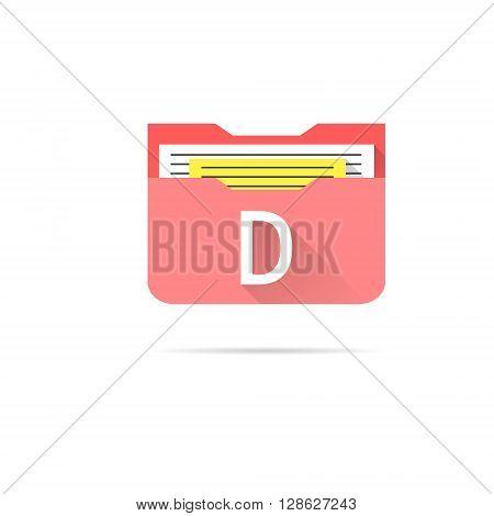 Folder icon on white background slim doc