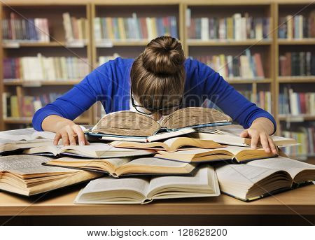 Student Studying Hard Exam and Sleeping on Books Tired Girl Read Difficult Book in Library