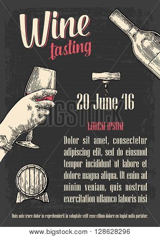 Female hand holding a glass of wine. Vintage vector engraving illustration. Isolated on dark background. Hand drawn sketch for bar beer poster wine poster invitation to wine party web banner