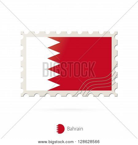 Postage Stamp With The Image Of Bahrain Flag.