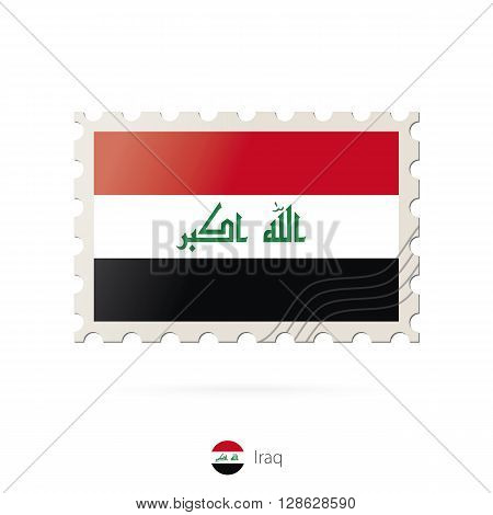 Postage Stamp With The Image Of Iraq Flag.